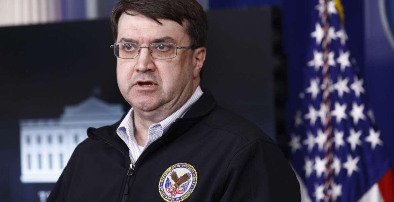 Veterans Affairs Secretary Robert Wilkie speaks during a coronavirus task force briefing at the White House, Sunday, April 5, 2020, in Washington. (AP Photo/Patrick Semansky)