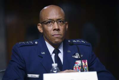 FILE - In this May 7, 2020, file photo Charles Q. Brown, Jr., nominated for reappointment to the grade of General and to Chief of Staff of the U.S. Air Force, testifies during a Senate Armed Services Committee nominations hearing on Capitol Hill in Washington. The Senate on Tuesday, June 9, unanimously confirmed Gen. Charles Brown Jr. as chief of staff of the U.S. Air Force, making him the first black officer to lead one of the nation's military services. (Kevin Dietsch/Pool via AP, File)