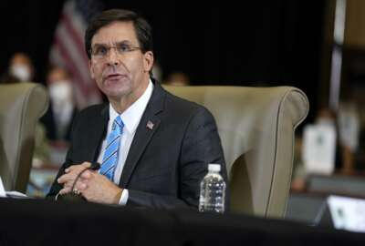 Defense Secretary Mark Esper speaks during a briefing on counternarcotics operations at U.S. Southern Command, Friday, July 10, 2020, in Doral, Fla. (AP Photo/Evan Vucci)