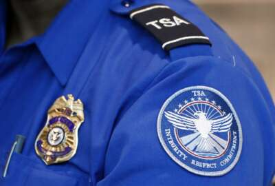 "FILE - In this June 24, 2020, file photo, a Transportation Security Administration officer works at Love Field in Dallas. President Donald Trump has repeatedly credited his February ban on travelers from mainland China as his signature move against the advance of the coronavirus pandemic -- a ""strong wall"" that allowed only U.S. citizens inside, he boasted in May. But Trump's wall was more like a sieve. Exempted were thousands of residents of the Chinese territories of Hong Kong and Macau. (AP Photo/Tony Gutierrez, File)"
