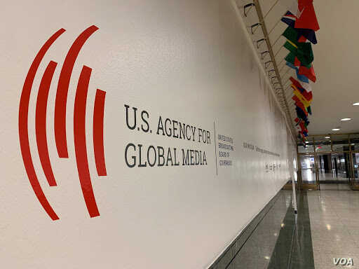 FILE - The U.S. Agency for Global Media logo at Voice of America, in Washington, D.C., November 22, 2019. (VOA)