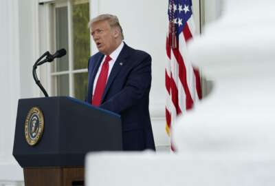 President Donald Trump speaks during a news conference on the North Portico of the White House, Monday, Sept. 7, 2020, in Washington. (AP Photo/Patrick Semansky)