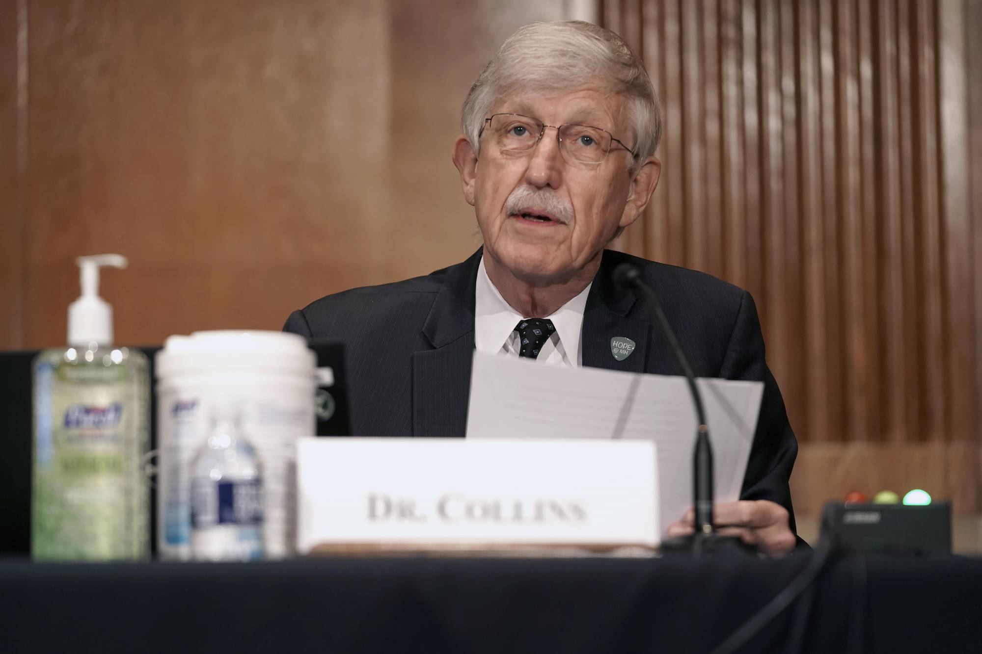 Dr. Francis Collins, Director of the National Institutes of Health, gives an opening statement during a Senate Health, Education, Labor and Pensions Committee hearing to discuss vaccines and protecting public health during the coronavirus pandemic on Capitol Hill, Wednesday, Sept. 9, 2020, in Washington. (Greg Nash/Pool via AP)