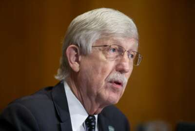 Dr. Francis Collins, Director of the National Institutes of Health, speaks during a Senate Health, Education, Labor and Pensions Committee hearing to discuss vaccines and protecting public health during the coronavirus pandemic on Capitol Hill, Wednesday, Sept. 9, 2020, in Washington. (Michael Reynolds/Pool via AP)