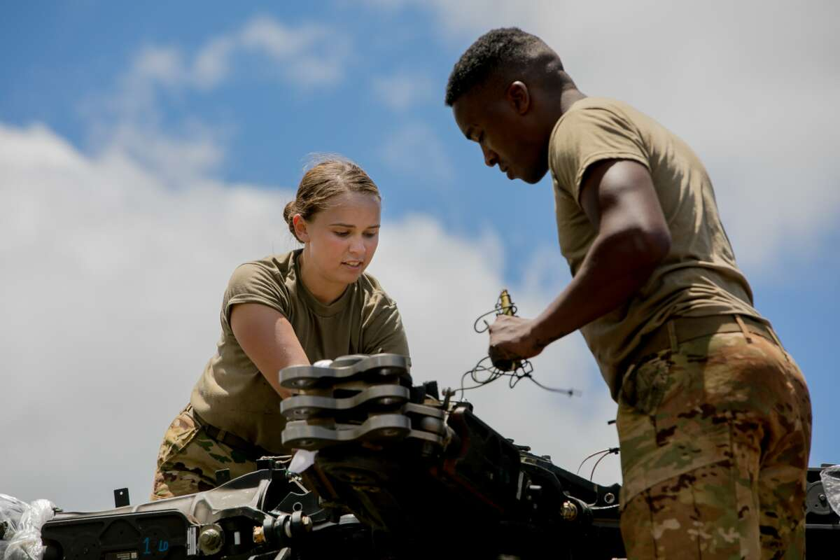 U.S. Army Pfc. Tess Sandoval assigned to 2nd Squadron, 6th Calvary Regiment, 25th Combat Aviation Brigade is one of two female attack helicopter repairers in the squadron located on Wheeler Army Airfield, Hawaii, Aug. 25, 2019.