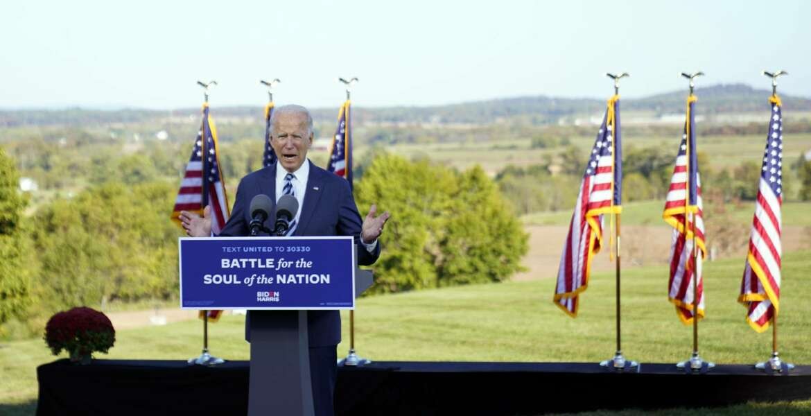 Democratic presidential candidate former Vice President Joe Biden speaks at Gettysburg National Military Park in Gettysburg, Pa., Tuesday, Oct. 6, 2020. (AP Photo/Andrew Harnik)