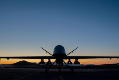 An MQ-9A Reaper assigned to the 556th Test and Evaluation Squadron sits on the ramp at Creech Air Force Base carrying eight Hellfire missiles. This was the first flight test of the MQ-9 carrying eight Hellfire missiles.  (U.S. Air Force photo by SrA Haley Stevens)