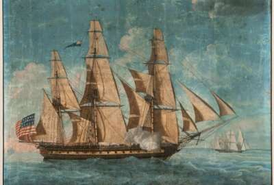 This image released Tuesday, Oct. 20, 2020, by the USS Constitution Museum in Boston shows the earliest known depiction of USS Constitution, a watercolor and gouache painting from the U.S. Navy Art Collection attributed to Michele Felice Corné and completed about 1803. It is part of a collection of documents related to the early years of the ship acquired by the museum that will be unveiled during a virtual celebration for the ship's 223rd birthday on Wednesday. (USS Constitution Museum via AP)