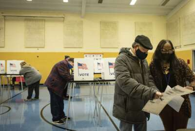 Election worker Robin Smith helps a voter with his ballot Tuesday, Nov. 3, 2020, at Willow School in Lansing, Mich. [Matthew Dae Smith/Lansing State Journal via AP)