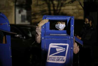 A person wears a costume of a U.S. Postal Service mailbox while demonstrating outside the Pennsylvania Convention Center where votes are being counted, Thursday, Nov. 5, 2020, in Philadelphia, following Tuesday's election. (AP Photo/Rebecca Blackwell)