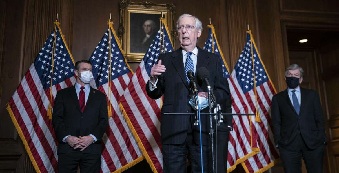 Senate Majority Leader Mitch McConnell of Kentucky, speaks during a news conference following a weekly meeting with the Senate Republican caucus, Tuesday, Dec. 8. 2020  at the Capitol in Washington.  (Sarah Silbiger/Pool via AP)