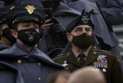 Joint Chiefs Chairman Gen. Mark Milley attends the 121st Army-Navy Football Game in Michie Stadium at the United States Military Academy, Saturday, Dec. 12, 2020, in West Point, N.Y. (AP Photo/Andrew Harnik)