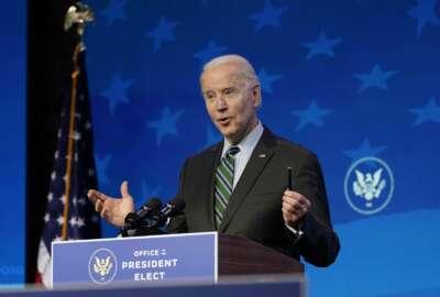 President-elect Joe Biden speaks during an event at The Queen theater, Saturday, Jan. 16, 2021, in Wilmington, Del. (AP Photo/Matt Slocum)