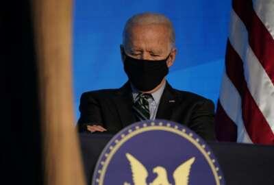 President-elect Joe Biden listens during an event at The Queen theater, Saturday, Jan. 16, 2021, in Wilmington, Del. (AP Photo/Matt Slocum)