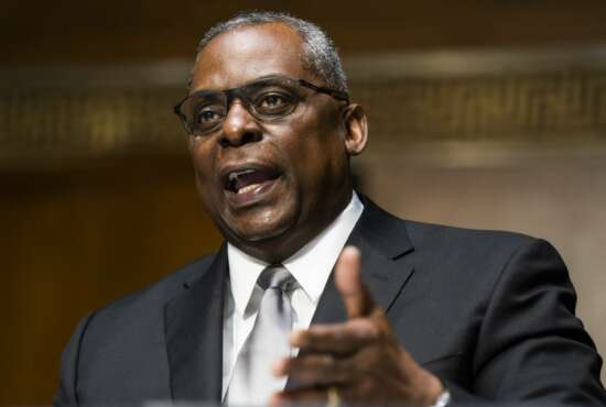 Secretary of Defense nominee Lloyd Austin, a recently retired Army general, speaks during his conformation hearing before the Senate Armed Services Committee on Capitol Hill, Tuesday, Jan. 19, 2021, in Washington. (Jim Lo Scalzo/Pool via AP)
