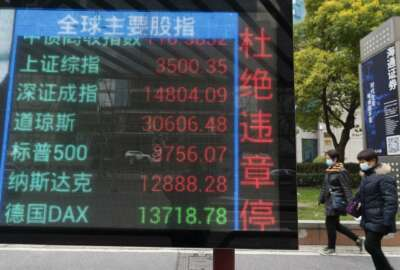 Residents walk past a screen with the title Global Main Indices and live numbers tracking various global and domestic stock index prices in Shanghai Monday, Jan. 4 , 2021. Global stock markets and U.S. futures rose Monday on 2021's first trading day, boosted by optimism about coronavirus vaccines after Wall Street ended the year on a new high. (AP Photo)