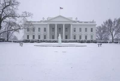 Snow falls on the North Lawn of the White House, Sunday, Jan. 31, 2021, in Washington. (AP Photo/Patrick Semansky)