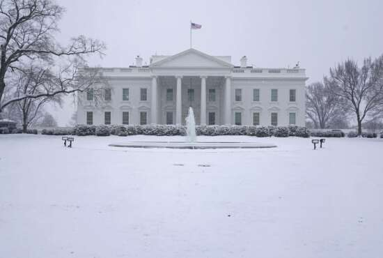 Snow falls on the North Lawn of the White House, Sunday, Jan. 31, 2021, in Washington. (AP Photo/Patrick Semansky)