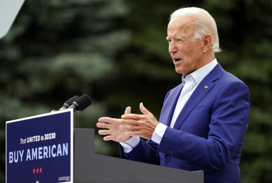 Democratic presidential candidate former Vice President Joe Biden speaks during a campaign event on manufacturing and buying American-made products at UAW Region 1 headquarters in Warren, Mich., Wednesday, Sept. 9, 2020. (AP Photo/Patrick Semansky)