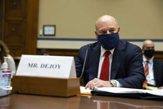 United States Postal Service Postmaster General Louis DeJoy speaks during a House Oversight and Reform Committee hearing on