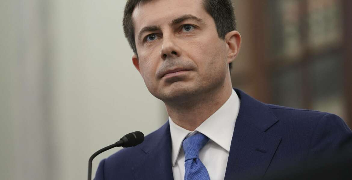 FILE - In this Jan. 21, 2021, file photo, Transportation Secretary nominee Pete Buttigieg speaks during a Senate Commerce, Science and Transportation Committee confirmation hearing on Capitol Hill in Washington. (Stefani Reynolds/Pool via AP)