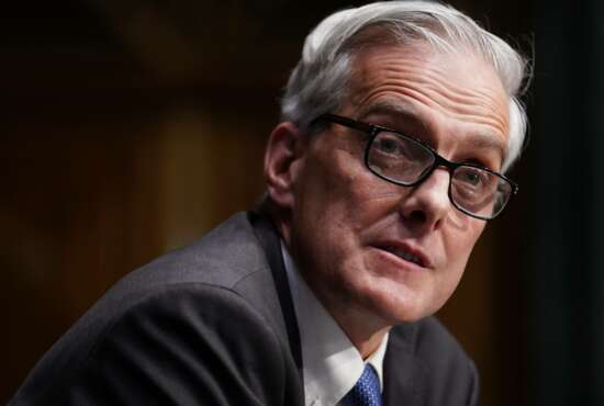 Secretary of Veterans Affairs nominee Denis McDonough speaks during his confirmation hearing before the Senate Committee on Veterans' Affairs on Capitol Hill, Wednesday, Jan. 27, 2021, in Washington. (Sarah Silbiger/Pool via AP)