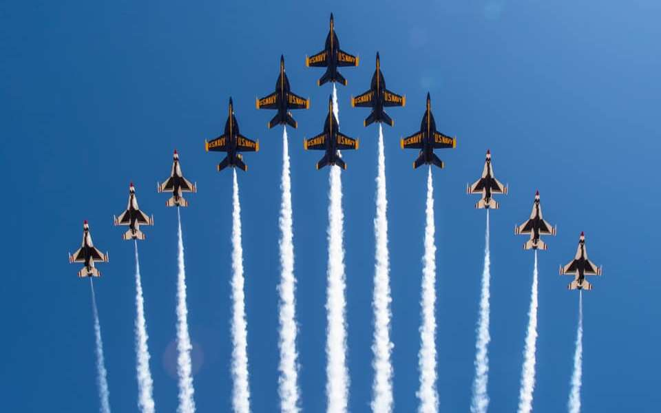 "For the first time ever, the Thunderbirds and U.S. Navy Blue Angels debut a F-16 Fighting Falcon and F/A-18 Super Hornet flight formation known as the ""Super Delta"" during a joint training evolution this afternoon over the Imperial Valley."