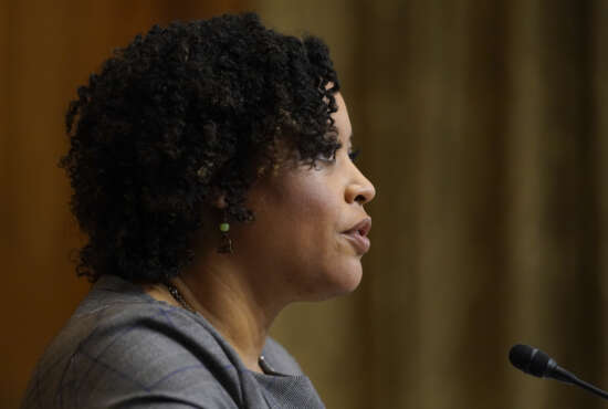 Shalanda Young testifies during a Senate Budget Committee hearing to examine her nomination to be Deputy Director of the Office of Management and Budget on Capitol Hill in Washington, Tuesday, March 2, 2021. (AP Photo/Patrick Semansky)