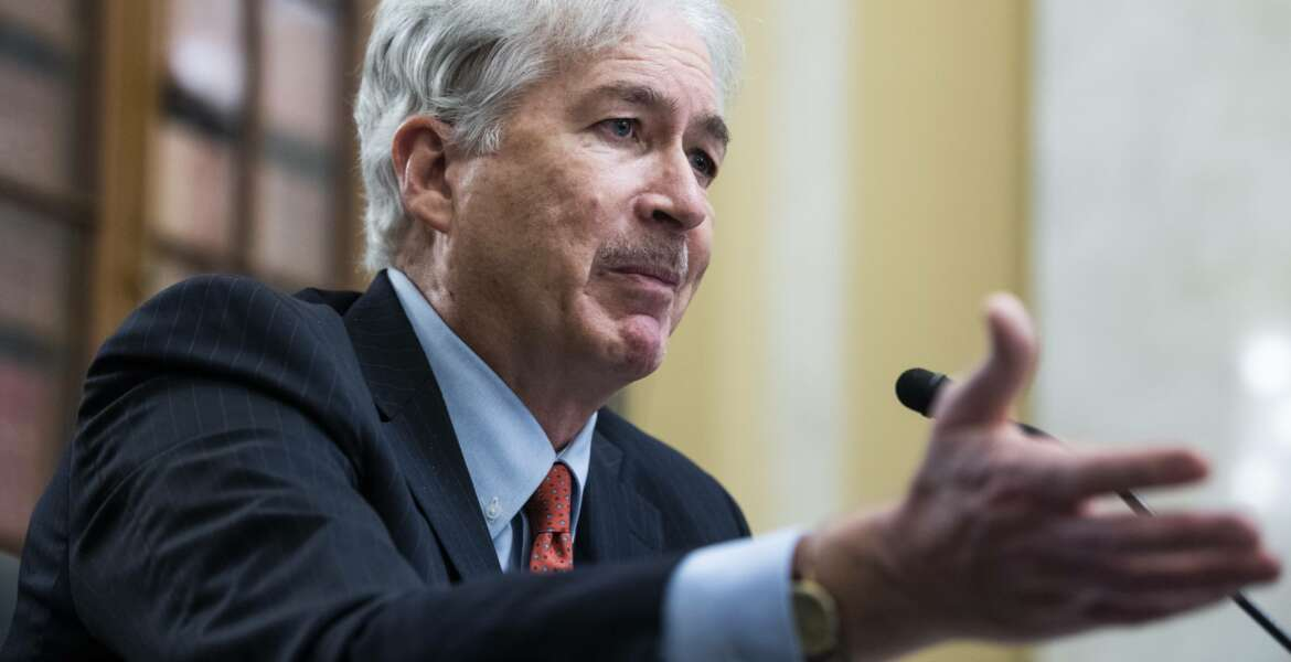 William Burns, nominee for Central Intelligence Agency director, testifies during his Senate Select Intelligence Committee confirmation hearing, Wednesday, Feb. 24, 2021, on Capitol Hill in Washington. (Tom Williams/Pool via AP)