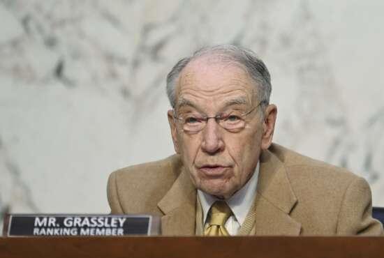 Sen. Chuck Grassley, R-Iowa, speaks as FBI Director Christopher Wray testifies before the Senate Judiciary Committee on Capitol Hill in Washington, Tuesday, March 2, 2021. (Mandel Ngan/Pool via AP)