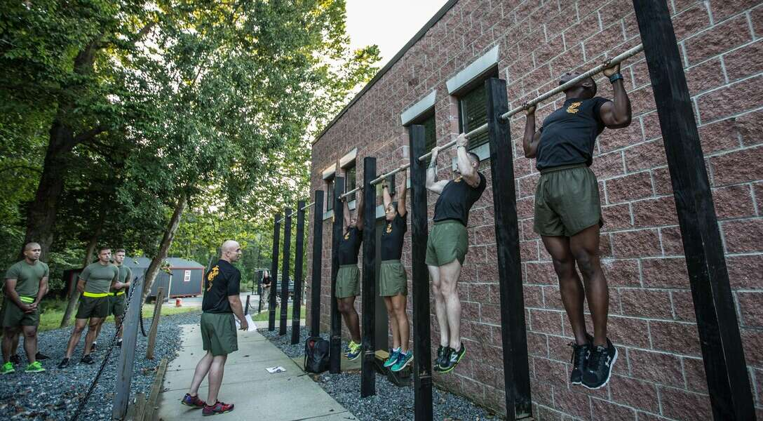 Force Fitness Instructor (FFI) Trainers demonstrate proper pull-up technique for the class of FFI students before executing practical application as part of their course requirement at Marine Corps Base Quantico, Virginia, October 3, 2016. The FFI course is made up of physical training, classroom instruction and practical application to provide the students with a holistic approach to fitness. Upon completion, the Marines will return to serve as unit FFIs, capable of designing individual and unit-level holistic fitness programs.