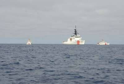 The Legend-class national security cutter (NSC) USCGC Hamilton (WMSL 753) escorts two Sentinel-class fast response cutters, USCGC Charles Moulthrope (WPC 1141) and USCGC Robert Goldman (WPC 1142), across the Atlantic to their new homeport in Bahrain before continuing their deployment in the U.S. Navy's Sixth Fleet area of responsibility, April 12, 2021. The U.S Coast Guard is on a routine deployment in the U.S. Sixth Fleet area of operations in support of U.S. national interests and security in Europe and Africa. Photo by: Petty Officer 3rd Class Sydney Phoenix