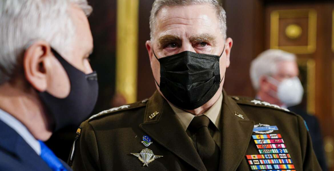 Joint Chiefs Chairman Gen. Mark Milley arrives to the chamber ahead of President Joe Biden speaking to a joint session of Congress, Wednesday, April 28, 2021, in the House Chamber at the U.S. Capitol in Washington. (Melina Mara/The Washington Post via AP, Pool)