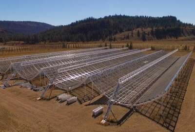 the Canadian Hydrogen Intensity Mapping Experiment (CHIME) radio telescope in Okanagan Falls, Canada