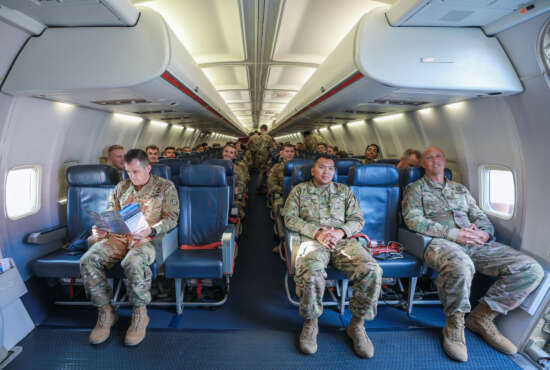 Soldiers assigned to the 3rd Squadron, 2d Cavalry Regiment prepare for departure aboard an aircraft at the Nuremberg Airport, Germany, July 26, 2018. 3/2CR is en route to Georgia to participate in Noble Partner 18 - a Georgian Armed Forces and U.S. Army Europe cooperatively-led exercise in its fourth iteration. The exercise is intended to support and enhance the readiness and interoperability of Georgia, the U.S. and participating nations during a multinational training operation. (U.S. Army photo by 1st Lt. Ellen C. Brabo)