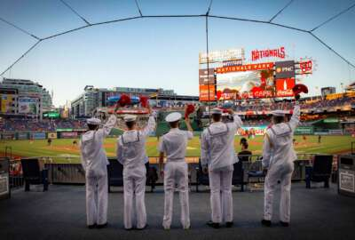 U.S. Navy Sailors attend and participate in Navy Night festivities at Washington Nationals Park, in Washington D.C., May 12. Throughout the MLB season, the Washington Nationals dedicate a special game to honor and celebrate each branch of the military!