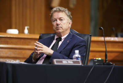 Sen. Rand Paul, R-Ky., listens during a Senate Health, Education, Labor and Pensions Committee hearing to examine an update from Federal officials on efforts to combat COVID-19 on Tuesday, May 11, 2021, on Capitol Hill, in Washington. (Greg Nash/Pool via AP)