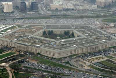 FILE - This March 27, 2008, file photo, shows the Pentagon in Washington. Reports of sexual assaults across the U.S. military increased by a very small amount in 2020, a year when troops were largely locked down for months as bases around the world grappled with the COVID-19 pandemic, according to U.S. officials. (AP Photo/Charles Dharapak, File)