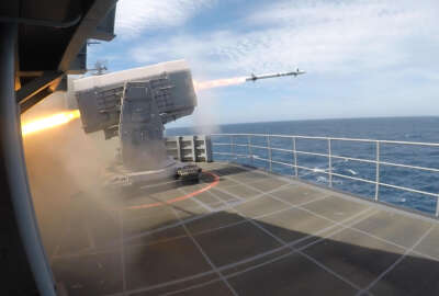 210609-N-TB080-1001 ATLANTIC OCEAN (June 9, 2021) A rolling airframe missile launches from the Nimitz-class aircraft carrier USS Harry S. Truman (CVN 75) during Tailored ShipÕs Training Availability (TSTA) and Final Evaluation Problem (FEP). Harry S. Truman, with embarked Carrier Air Wing 1, is underway conducting TSTA and FEP to assess their ability to conduct combat missions, support functions and survive complex casualty control situations in preparation for full integration into a carrier strike group.  (U.S. Navy photo by Mass Communication Specialist 2nd Class Courtney Strahan)