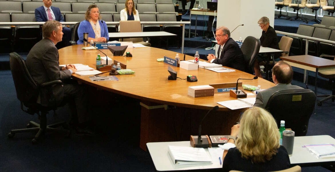 Nuclear Regulatory Commission Chairman Hanson and Commissioners Baron, Caputo and Wright seated around the the table listening to presentations by the NRC staff on the agency's Human Capital and Equal Employment Opportunity Programs during the public meeting on June 8, 2021.