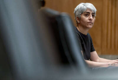 Kiran Ahuja, the nominee to be Office of Personnel Management Director, appears before a Senate Governmental Affairs Committee hybrid nominations hearing on Capitol Hill, Thursday, April 22, 2021, in Washington. (AP Photo/Andrew Harnik)
