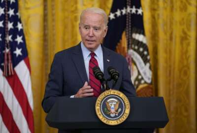 President Joe Biden speaks about infrastructure negotiations, in the East Room of the White House, Thursday, June 24, 2021, in Washington. (AP Photo/Evan Vucci)