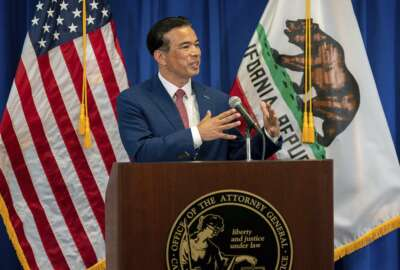 FILE - In this April 23, 2021, file photo, California Attorney General Rob Bonta speaks in Sacramento, Calif. Officials from California, New York and other states urged the Environmental Protection Agency June 2, to allow California to set its own automobile tailpipe pollution standards. (Paul Kitagaki Jr./The Sacramento Bee via AP, Pool, File)
