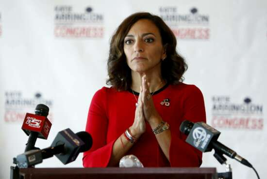 FILE - In this Wednesday, Nov. 7, 2018, file photo, Republican nominee for Congress Katie Arrington concedes the race to Democrat Joe Cunningham during her news conference at the Staybridge Suites in Mount Pleasant, S.C. Arrington, a former South Carolina state lawmaker and failed congressional candidate, has been placed on leave from her Pentagon job during a probe into allegations of an unauthorized release of classified information, her attorney confirmed to The Associated Press, Tuesday, June 29, 2021. (AP Photo/Mic Smith, File)