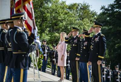Army Secretary Christine Wormuth, GENeral James C. McConville, & SMA Michael Grinston participated in a wreath-laying ceremony at the Tomb of the Unknown Soldier in honor of the 246th Army Birthday. Army senior leaders were greeted by Karen Durham-Aguilera & Maj Gen Allan Pepin  (Army photo by Elizabeth Fraser)