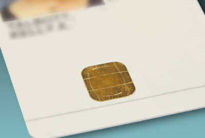 This smart chip on a Personal Identity Verification (PIV) card holds two fingerprint biometrics, a unique number that identifies the individual within the PIV system, a PIN number that never leaves the card and a cryptographic key that is used to authenticate the cardholder to the PIV system.  Credit: K. Talbott/NIST