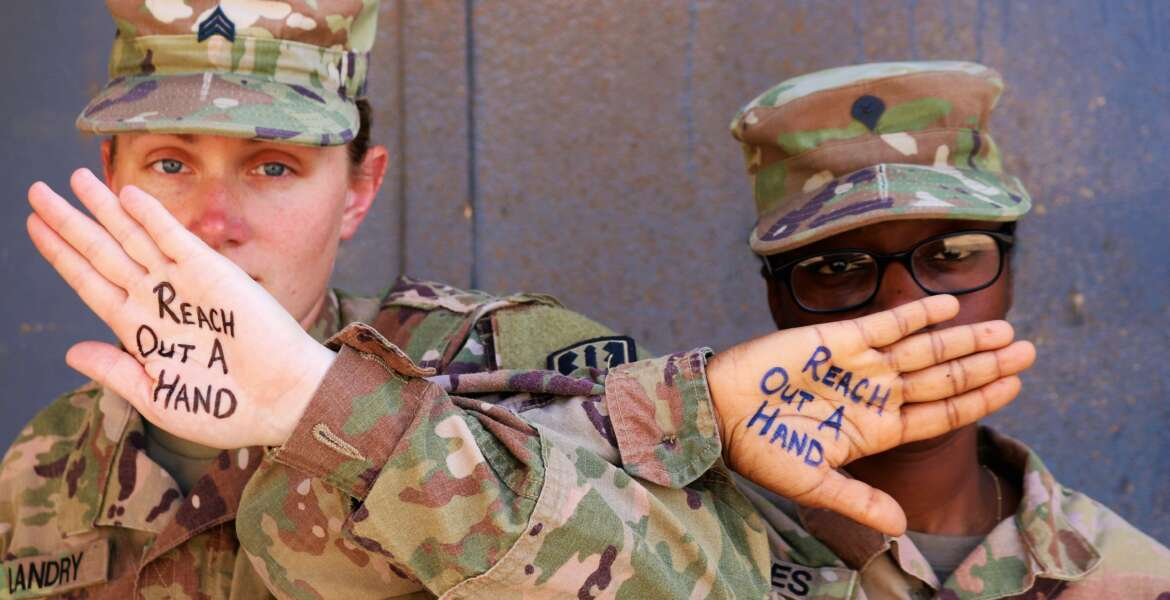 Sgt. Rebecca Landry and Spc. Asia Jones, 529th Support Battalion Soldiers, helped spread a powerful message in June to help reduce suicides within the Army.