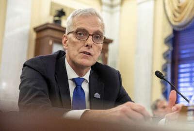 Denis McDonough, Secretary of Veterans Affairs, testifies before the Senate Committee on Veterans' Affairs on Capitol Hill in Washington on Wednesday, July 14, 2021. (AP Photo/Amanda Andrade-Rhoades)