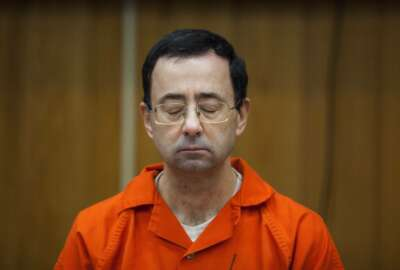 FILE - In this Feb. 5, 2018, file photo, Larry Nassar listens during his sentencing at Eaton County Circuit Court in Charlotte, Mich. (Cory Morse/The Grand Rapids Press via AP, File)