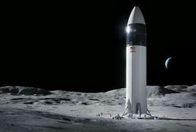 This is an illustration provided by SpaceX shows the SpaceX Starship human lander design that will carry the first NASA astronauts to the surface of the Moon under the Artemis program. Jeff Bezos has lost his appeal of NASA's contract with Elon Musk's SpaceX to build its new moon lander. The Government Accountability Office Friday, July 30, 2021 ruled that NASA's award of the $2.9 billion contract to just SpaceX was legal and proper.(SpaceX/NASA via AP)